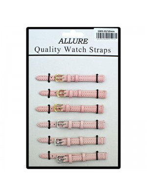 Allure Plain Leather Watch Straps - Pink - 10mm Wholesale
