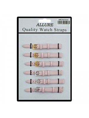Allure Plain Leather Watch Straps - Pink - 12mm Wholesale