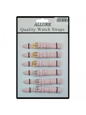 Allure Plain Leather Watch Straps - Pink - 14mm Wholesale
