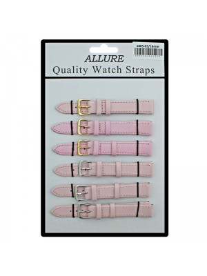 Allure Plain Leather Watch Straps - Pink - 16mm Wholesale