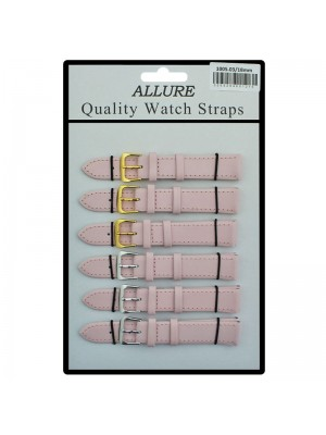 Allure Plain Leather Watch Straps - Pink - 18mm Wholesale