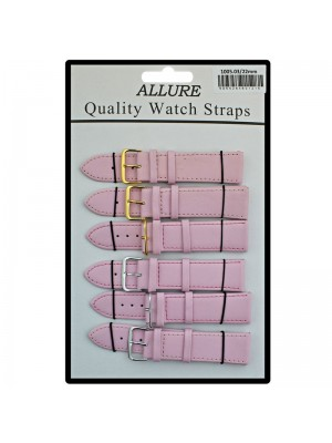 Allure Plain Leather Watch Straps - Pink - 22mm Wholesale