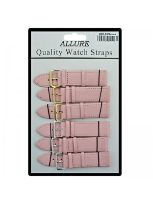 Allure Plain Leather Watch Straps - Pink - 24mm Wholesale