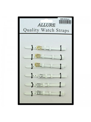 Allure Plain Leather Watch Straps - White - 6mm Wholesale