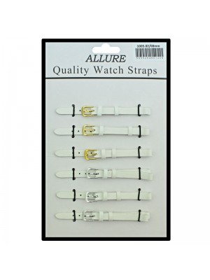 Allure Plain Leather Watch Straps - White - 8mm Wholesale