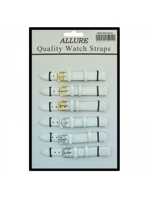 Allure Plain Leather Watch Straps - White - 14mm