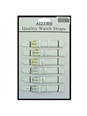 Allure Plain Leather Watch Straps - White - 16mm