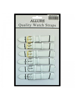 Allure Plain Leather Watch Straps - White - 18mm
