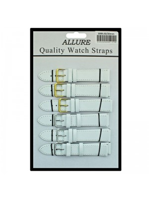 Allure Plain Leather Watch Straps - White - 20mm Wholesale