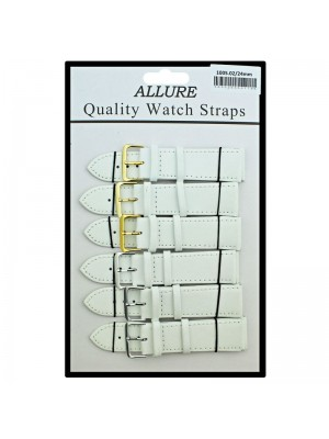 Allure Plain Leather Watch Straps - White - 24mm wholesale