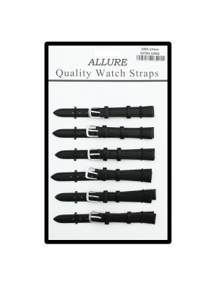 Allure Extra Long Black Leather Watch Straps - Silver Buckles - 12mm Wholesale