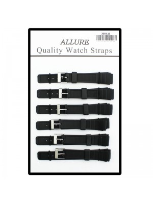 Allure Silicon Watch Straps - Black - 16mm Wholesale