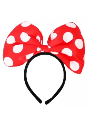 Mouse Ears On Headband - Red & White
