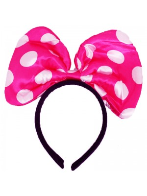 Mouse Ears On Headband - Pink And White