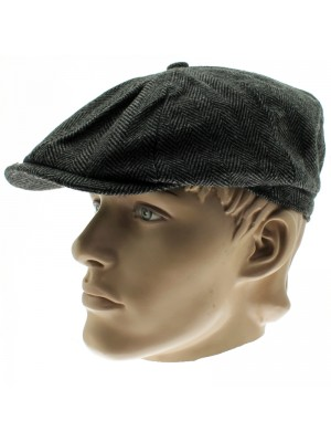 8 Pannel Herringbone Tweed Cap - Dark Grey