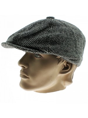 8 Pannel Herringbone Tweed Cap - Light Grey