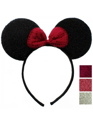 Sparkly Mouse Ears with Bow on Alice Band - Assorted Colours