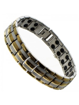 Magnetic Bracelet With 42 Magnets - Two Tone Links
