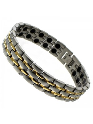 Magnetic Bracelet With 44 Magnets - Silver with Gold Links