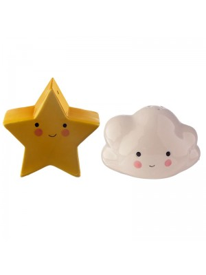 Cloud & Star Salt and Pepper Ceramic Cruet Set