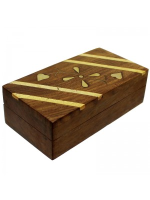Brass Inlay Wooden Pill Boxes - Assorted Designs 10x5.5x3.5cm