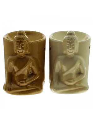 Ceramic Sitting Thai Buddha Oil Burner - Assorted Colours