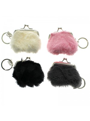 Furry Coin Purse on metal Keyring - Assorted Colours