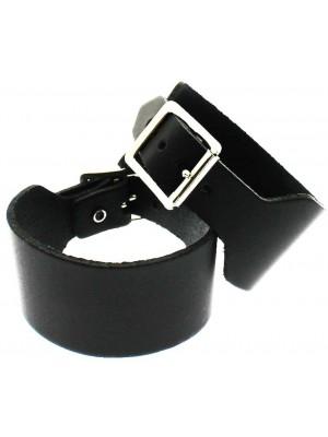 Wholesale Black Plain Leather Wristband (4cm)