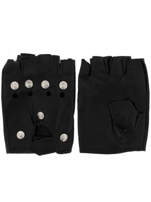 Wholesale Conical Studded Fingerless Gloves - M