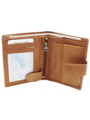 Wholesale Mens RFID Genuine Leather Wallet With Closure Button - Tan
