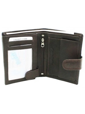 Wholesale Mens RFID Genuine Leather Wallet With Closure Button - Brown