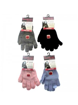 Wholesale Ladies Plain Touch Screen Magic Gloves - Assorted Colours
