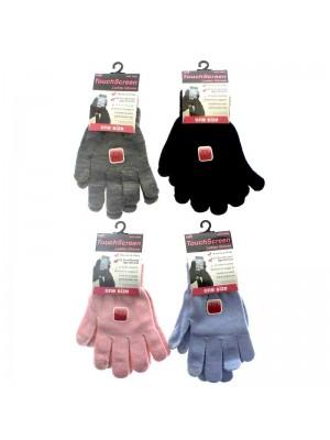 Wholesale Ladies Plain Touch Screen Magic Gloves - Assorted Colours