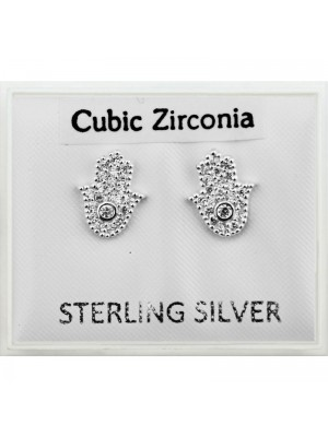 Sterling Silver CZ - Hamsa Hand (8mm) Wholesale
