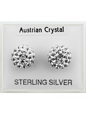Sterling Silver Austrian Crystal Round Studs (8mm) Wholesale
