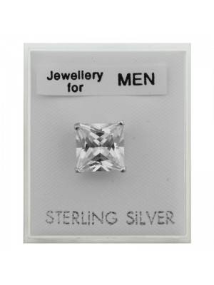 Men's Sterling Silver Square Stud - 8mm Wholesale