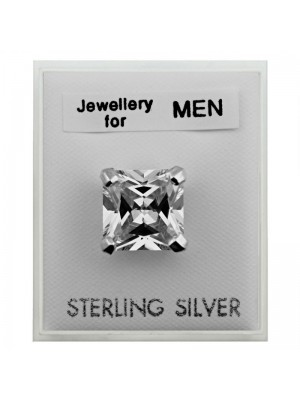 Men's Sterling Silver Square Stud - 10mm