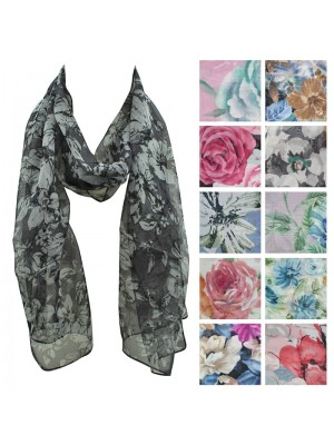 Ladies Chiffon Scarf - Mixed Floral Design Wholesale