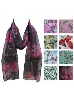 Ladies Chiffon Scarf - Mixed Butterfly Design Wholesale