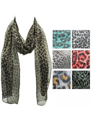 Ladies Chiffon Scarf - Mixed Animal Print Design Wholesale