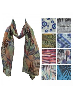 Ladies Chiffon Scarf - Mixed Pattern Design Wholesale