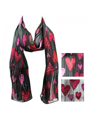 Ladies Satin Scarf - Heart Design Wholesale