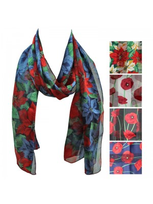 Ladies Satin Scarf - Mixed Stripe Floral Design Wholesale