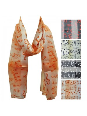 Ladies Satin Scarf - Stripe Music Notes Wholesale