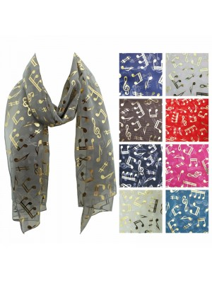Ladies Foil Scarf - Music Notes Wholesale