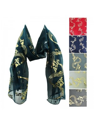 Ladies Foil Scarf - I Love Jesus Print Wholesale