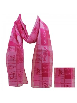 Ladies Satin Scarf - Stripe Music Instruments (Pink) Wholesale