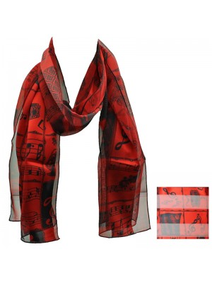 Ladies Satin Scarf - Stripe Music Instruments (Red) Wholesale