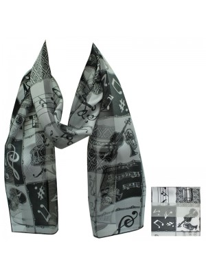Ladies Satin Scarf - Stripe Music Instruments (Black) Wholesale