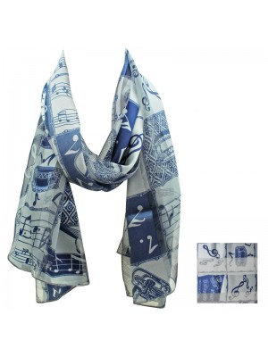 Ladies Satin Scarf - Stripe Music Instruments (Blue) Wholesale